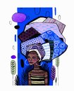 Illustration of an african american girl on a background of classic blue pantone 2020 vertical stripe.