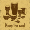 Illustration of african percussion drum set on a retro background Stock Photos