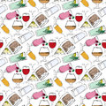 Illustration of alcoholic and non alcoholic beverages drinks at the bar seamless pattern Stock Photos