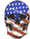 Illustration America Flag painted on a skull