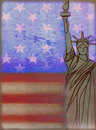 illustration of the american flag and Statue of liberty