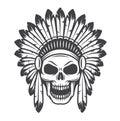 Illustration of american indian skull