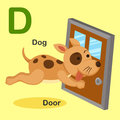 Illustration Animal Alphabet Letter D-Dog,Door