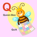 Illustration  Animal Alphabet Letter Q-Quilt,Queen bee Royalty Free Stock Photo