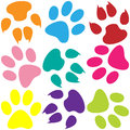 Illustration of animal paw print as a colorful background Royalty Free Stock Image