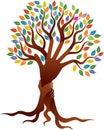 Couple hands tree logo Royalty Free Stock Photo
