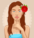 Illustration of attractive young brunette who is asking you to keep quiet holding her index finger on her lips Royalty Free Stock Images