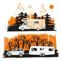 Illustration of autumn landscape with camper van on road top view, motorhome. Family trip. Drawing design for logo trip