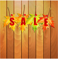 Illustration of autumn seasonal sale yellow maple leaves and the word on the wooden wall Royalty Free Stock Photo