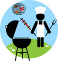 Illustration of backyard bbq scene - 2 Royalty Free Stock Photos