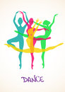 Illustration with ballet dancers colorful silhouettes of Stock Photography