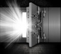 Illustration of a bank vault in a grunge interior with light beams coming out of open door Stock Photography