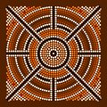 A illustration based on aboriginal style of dot painting depicting center Royalty Free Stock Image