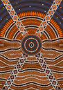A illustration based on aboriginal style of dot painting depicting secret Stock Images