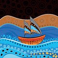 An illustration based on aboriginal style of dot painting Royalty Free Stock Photo