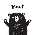 Illustration with bear who shouts - Boo. For design of funny avatars, welcome posters and cards. Cute animal.