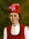 image photo : Illustration of a beautiful Bulgarian girl in traditional clothing