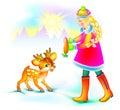 Illustration of beautiful girl feeding little fawn in winter.