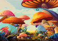 Illustration: A Beautiful Mushroom Land. It looks like you can walk into a story by this path.