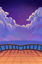 Illustration: The Beautiful Starry Night with Clouds. Balcony View. Realistic Cartoon Style Scene / Wallpaper / Background Design. Royalty Free Stock Photo