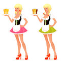 Illustration of a beautiful waitress girl serving Stock Image