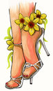 Illustration of beautiful woman legs with flower