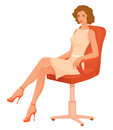 Illustration of a beautiful woman in retro style confident s sitting chair Royalty Free Stock Images