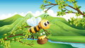 Illustration of a bee near the river Royalty Free Stock Photography