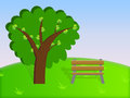 Illustration of a bench and a tree cartoon under Stock Photography