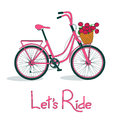 Illustration with bicycle and basket full of flowe pink flowers Royalty Free Stock Photo