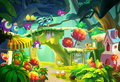 Illustration: Big Eyes arrived this Lovely Forest. Royalty Free Stock Photo