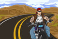 A illustration of biker with tattoo riding on his motorbike Royalty Free Stock Photo