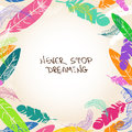 Illustration with bird feathers frame colorful Royalty Free Stock Photography