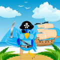 Illustration of the bird of the pirate ashore island in tropic Royalty Free Stock Photography