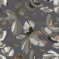 Illustration of birds, blue ivy, falcons in flight