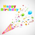 Illustration of birthday party object exploding from horn Royalty Free Stock Photos