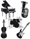 An illustration of black orchestral and musical instruments on a white background Stock Photography