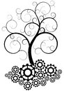 Illustration of black swirl tree with gear Royalty Free Stock Photos