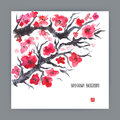 Illustration with blooming sakura Royalty Free Stock Photo
