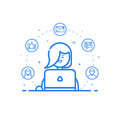 illustration of blue icon in flat line style. Linear cute and happy woman with laptop. Royalty Free Stock Photo