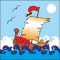 Illustration of boat with unrolled scroll as a sail vector card Royalty Free Stock Photography