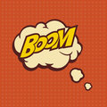 Illustration of a Boom in comic stile, on cloud