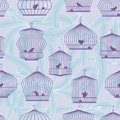 Illustration boring lonely bird stay alone cage dancing plants wallpaper background seamless pattern Stock Image