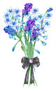 An illustration with a bouquet of the watercolor blue forget-me-not flowers (Myosotis), lavender flowers Royalty Free Stock Photo