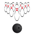 Illustration bowling ball set pins Stock Photography