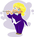 Illustration boy flutist cartoon character vector Royalty Free Stock Photo