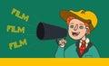 Illustration of boy in retro clothes shouting in megaphone: `Film, Film, Film`.