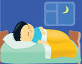 Illustration of a boy sleeping in his bed Stock Photo