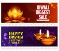 Burning diya on happy Diwali Holiday Sale promotion advertisement background for light festival of India
