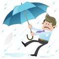 Illustration business buddy holding onto his umbrella dear life Royalty Free Stock Image